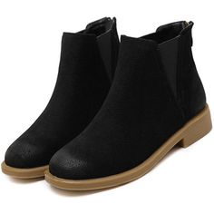 SheIn(sheinside) Black Back Zipper Distressed Chelsea Boots (135 BRL) ❤ liked on Polyvore featuring shoes, boots, short heel boots, black chelsea ankle boots, round toe boots, winter boots and distressed black boots