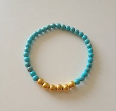 Turquoise & Gold Stretch Bracelet -- ONLY $8