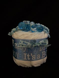 diaper centerpieces for baby shower | BOY Mini Diaper Cake - Centerpieces Baby Shower ideas Baby Shower ...