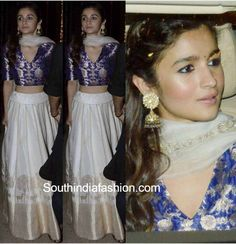 Alia Bhatt chose to wear a white and blue lehenga by Raw Mango for the Bachchans' diwali bash that sure was one of the best Diwali outfits of this year.