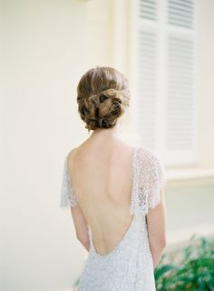 stunning low back and beaded sleeves