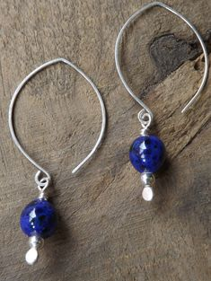 Earrings Jewelry Sterling Silver Handmade Blue and Black Speckled Glass Bead by maryannefountain on Etsy $35.00