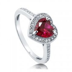 Heart Cut CZ Simulated Ruby 925 Silver Halo Ring 1.13 Ct