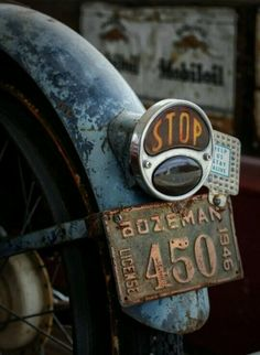 Vintage motorcycle with Bozeman, Montana license plates. Vintage Bikes, Vintage Motorcycles, Cars And Motorcycles, Vintage Cars, Harley Davidson, Pompe A Essence, Abandoned Cars, Cafe Racer, Old Trucks