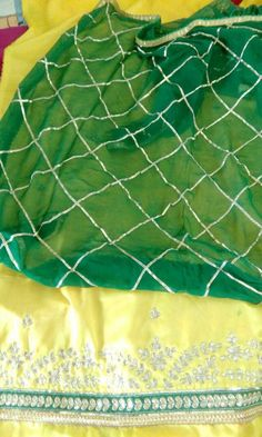 Hand Worked Alluring Pure Silk Suit in Yellow Color With Green Dupatta