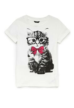 Awe, Nerdy Kitty, who wouldn't Love!!  Smart Kitty Tee (Kids) | FOREVER21 girls - 2000065842