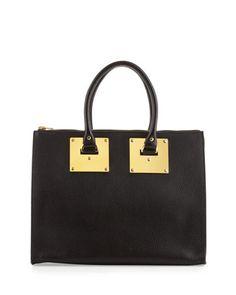 Sophie Hulme Stamped Zip-Top Bowling Bag, Black - Neiman Marcus