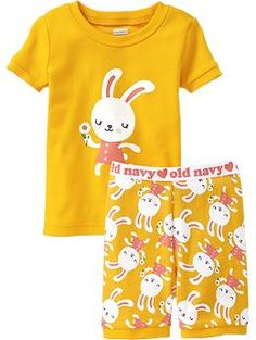 Bunny-Graphic Short PJ Sets for Baby