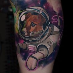 Geometric Dog in Space Tattoo