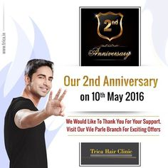 Trica Hair Clinic is celebrating their 2nd Anniversary on 10th May 2016. We Heart fully welcomes you on this wonderful occasion. For More Click Here : http://www.trica.in/