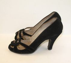 1940s Shoes Vintage Suede Open Toe  6 by VioletsEmporium on Etsy, $70.00