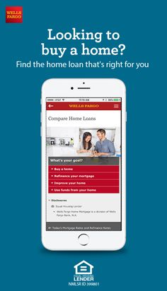 From finding your home price range to checking interest rates, Wells Fargo is here to help. Check out our home loan shopping tools to help you get started. Home Refinance, Refinance Mortgage, Home Buying Tips, Buying Your First Home, Wells Fargo Home Mortgage, Mortgage Loan Calculator, Jumbo Loans, Improve Yourself, Finding Yourself
