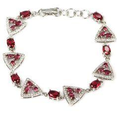 Sterling Silver Pink Raspberry Rhodolite Garnet Gemstone Bracelet With AAA CZ Accents by Dazzlegoods on Etsy