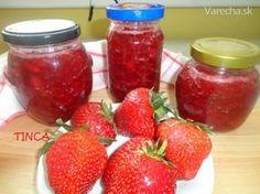 Jahodový džem (fotorecept) Smoothie, Salsa, Berries, Food And Drink, Jar, Homemade, Drinks, Cooking, Syrup