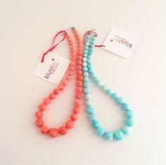 Coral Aqua Love Coral Necklace Peach Necklace Aqua by kluster. $86.00 USD, via Etsy.
