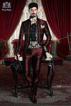Burgundy brocade men baroque wedding suit model 1299 Ottavio Nuccio Gala