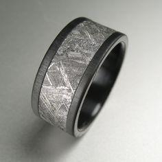 Black Zirconium Meteorite Distressed Wedding Band