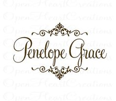 Elegant Baby Girl Name Wall Decal  Ornate by openheartcreations, $49.00