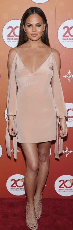Chrissy Teigen in Dress – Juan Carlos Obando  Shoes – Aquazurra