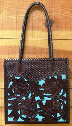 Turquoise Totes: Another beautifully hand-tooled leather shopper by Appaloosa Trading