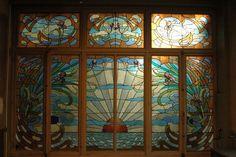 Art Nouveau Biennale Stained Glass, Bruxelles, Belgique by Henri Privat-Livemont Art Nouveau Poster, Art Nouveau Architecture, Art Nouveau Jewelry, Arts And Crafts Movement, Stained Glass Windows, Belle Epoque, Art World, Geometric Shapes, Glass Art