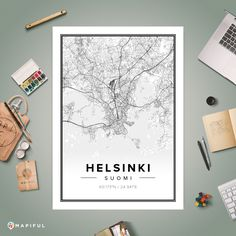 A map poster from Mapiful.com. A creative DIY tool to make your own map poster. This is 'Helsinki'