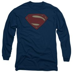 BATMAN V SUPERMAN/SUPER MOVIE LOGO-L/S ADULT 18/1-ROYAL BLUE