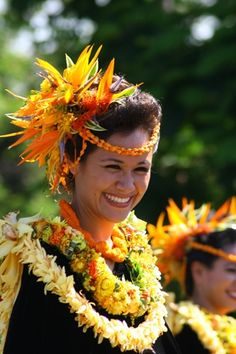 The Pau riders that represent each island is beautifully adorned with the flower of that island.