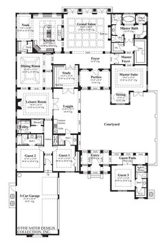 lots of guest suites! In my dreams I would love this house. Courtyard, study, kitchen, pantry, guest patio. Amazing one story house.