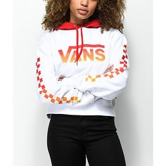 A classic California skater girl style starts with the Gradient Checker Crop Hoodie from Vans. Featured in white with a checkerboard print on the sleeves and a Vans logo on the chest, both in a red to yellow ombre fade design while the body is white and t Outfits With Vans, Vans Outfit Girls, Cool Outfits, Fashion Outfits, Skater Outfits, Scene Outfits, Skater Dress, Fashion Boots, Vans Sweater