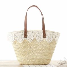 d272f376f Beige Straw Beach Bag Lace Summer Tote Bag for Honeymoon #Shop #shoponline  #accessories