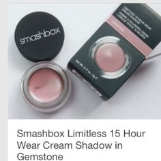 NIB Smashbox Limitless 15 Hourlong Eye Cream NIB Smashbox Limitless 15 Hourwear Cream Shadow in Gemstone. This shadow is known for long wear and withstanding water and humidity. Also, no caking, flaking or creasing! Smashbox Makeup Eyeshadow