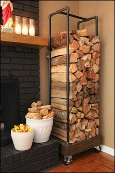 Want a better storage for your firewood? Build a rustic fire wood holder from letfover pipes!
