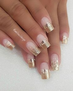 faded french nails With Art – faded french nails With Art… – Beauty Wedding Nails Shiny Nails, Fancy Nails, Gold Nails, Cute Nails, Glitter Nails, Fancy Nail Art, Gold Glitter, French Tip Nail Designs, Gold Nail Designs