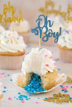 Baby Shower Cupcakes | with FREE printable cupcake pinwheels! Baking Cupcakes, Cupcake Recipes, Cookie Recipes, Cupcake Cakes, Dessert Recipes, Cupcake Ideas, Cup Cakes, Baking Recipes, Baby Shower Desserts