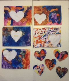 Heart cut out painting! Cut out any shape tape it to a piece of paper cover the whole page with paint then peel off shape when dry!