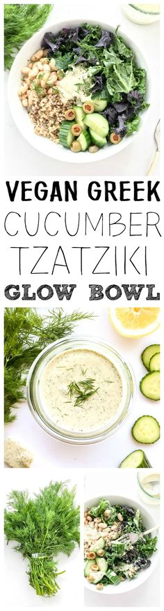 Refreshing, simple and bright! Kale, quinoa, white bean & cucumber bowl, plus a Dairy-Free, Lemony Dill Cucumber Tzatziki sauce