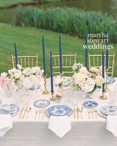 Go Inside Margo & Me's Jenny Bernheim's Dreamy Wedding in France – Wedding Centerpieces French Blue Wedding, Blue Wedding Flowers, Wedding Colors, Parisian Wedding, Greek Wedding, White Flowers, Long Candles, Blue Candles, Taper Candles