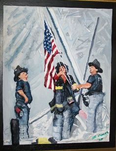The September 11th flag raising is another one of my paintings that catches a visitors eye. I donated a small version of this to a Local Volunteer Fire Dept. and I also had a friend research to find out what station these three gentlemen were from. They were from Engine #255 out of Brooklyn, NY., so I mailed a beautiful sculptured piece like this one to them a couple years ago for Christmas so they can display it in their coffee break room. I just keep working it, and just keep moving…