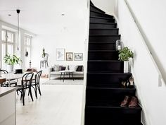 Black and white apartment entrance