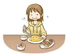 中華料理屋さんで食事している女性のイラスト