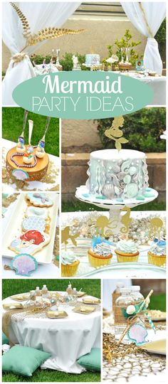 Such a gorgeous under the sea party in lovely colors! See more party ideas at CatchMyParty.com!