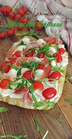 Caprese Focaccia - All Recipes Pizza Recipes, Appetizer Recipes, Sweets Recipes, Foccacia Recipe, Focaccia Pizza, Raw Potato, Breakfast Lunch Dinner, Sugar Free Recipes, I Love Food