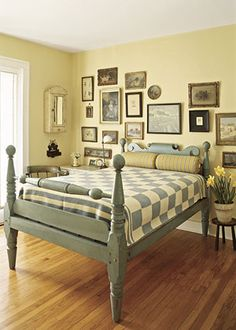 painted vintage cannonball bed
