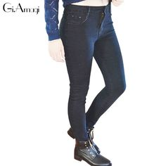 952358dcac8 Plus Size 26-40 New Fashion High Waist Jeans Sexy Slim Elastic Skinny  casual Feet Pencil Denim pants Women Trousers Jeans