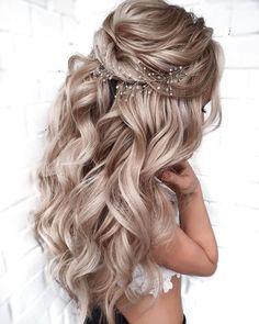 Wedding Hairstyles For Long Hair, Wedding Hair And Makeup, Elegant Hairstyles, Prom Hairstyles Half Up Half Down, Long Hair Wedding Styles, Gorgeous Hairstyles, Cute Prom Hairstyles, Indian Hairstyles, Prom Hairstyles For Long Hair Half Up