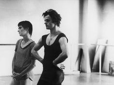 Dancer Mikhail Baryshnikov and Choreographer Twyla Tharp Resting during Rehearsal