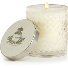 Agraria Mediterranean Jasmine Candle (198g) ($83) ❤ liked on Polyvore featuring home, home decor, candles & candleholders, scented candles, flower scented candles, agraria candles, blossom candle and mediterranean home decor