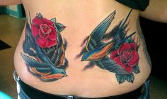 Red roses and swallows tattoo