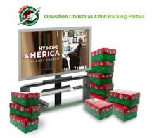 Pack with My Hope America Packing shoeboxes of gifts for Christmas With Samaritan's Purse - Franklin Graham (November 7 Billy Graham will have a special message) Operation Christmas Child Shoebox, Samaritan's Purse, Billy Graham, Simple Gifts, Christmas Fun, Holiday, Party Packs, Shoe Box, Franklin Graham